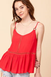 PLEATED CAMI WITH O-RING STRAP DETAIL CORAL