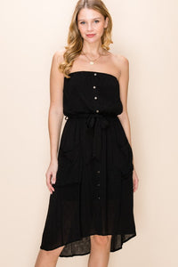 STRAPLESS TUBE POCKET DRESS WITH BUTTONS AND WAIST TIE