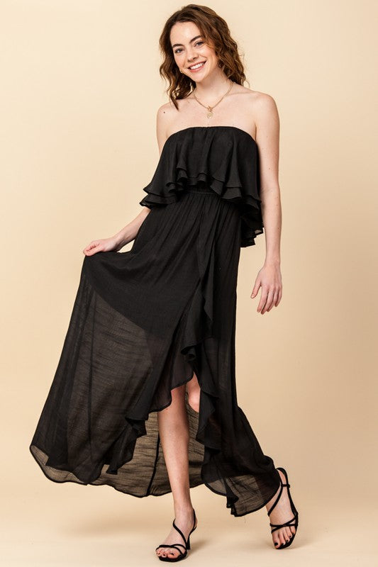 OFF THE SHOULDER MAXI DRESS WITH FRONT SLIT AND RUFFLE TRIM