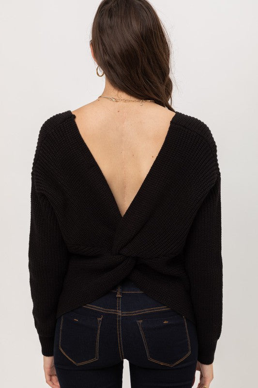 Twisted Black Open Back Detail Sweater