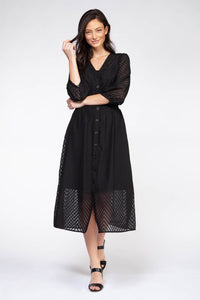 SMOKED WAIST BUTTON DOWN DRESS