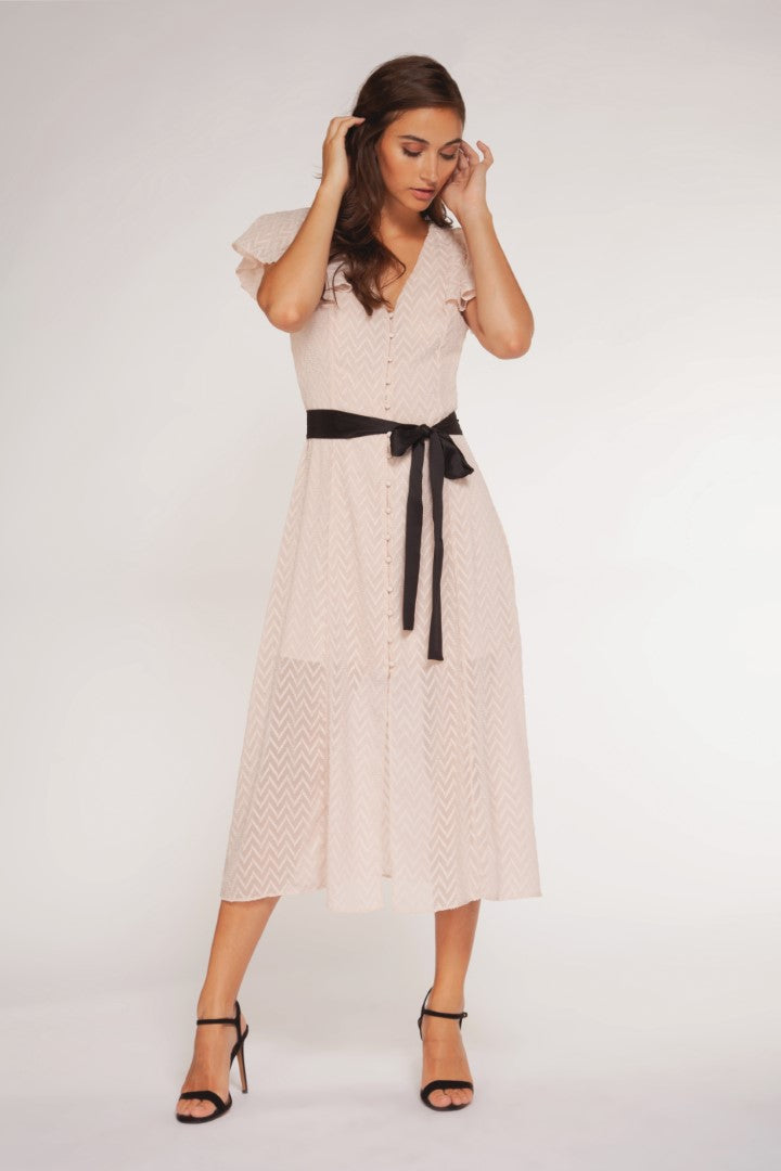 CAP SLV BUTTON DOWN MIDI WITH CONTRAST BELT