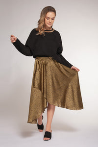 FAUX WRAP PULL ON SKIRT W/DRAWCORD