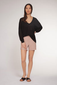 BASIC LONG SLEEVE V NECK OVERSIZE PULLOVER