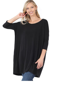 Everyday Zen 3/4 Sleeve Tunic with Pockets Black