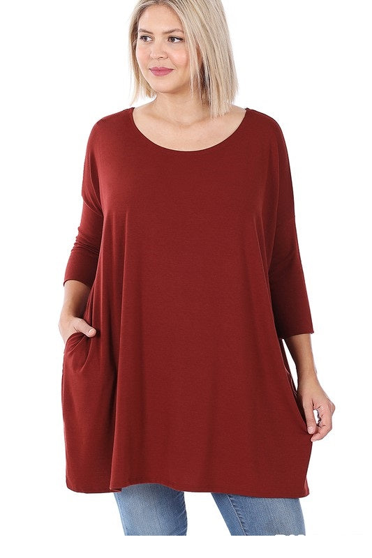 Everyday Zen 3/4 Sleeve Tunic with Pockets Rust
