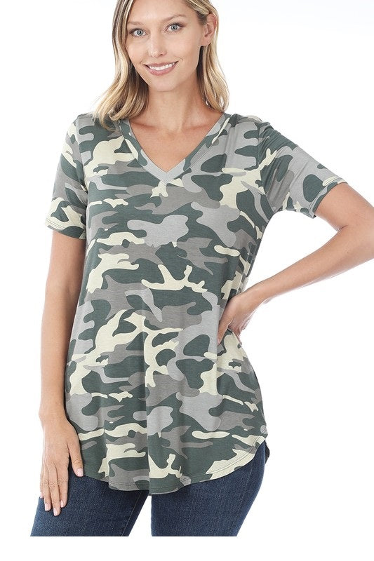 Camo print V neck tee shirt Green