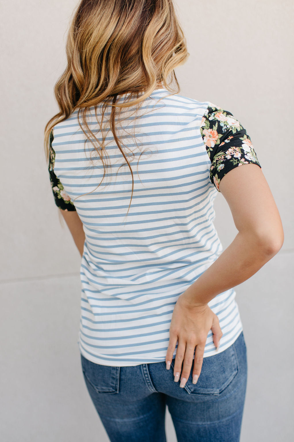 Accent Sleeve Lulu Tee  Blue stripe & Floral