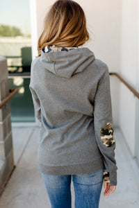 Double Hood Sweatshirt  Camo Elbow Patch