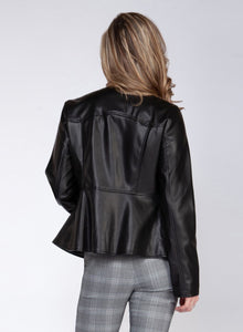 Front Zip Faux Leather Jacket