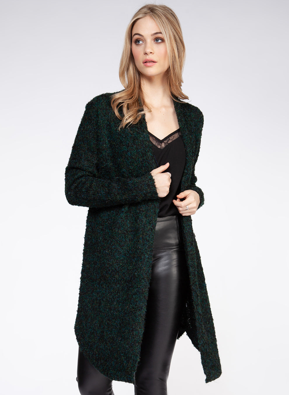 Long Sleeve Boucle Cardigan