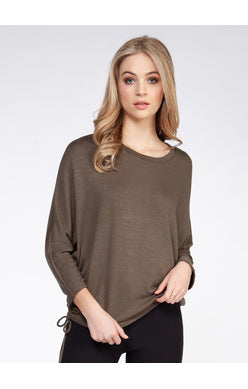 3/4 Dolman Slv w/Side Drawstring Top Khaki