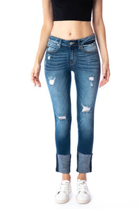 Farrah Mid Rise Skinny Jean with High Cuff