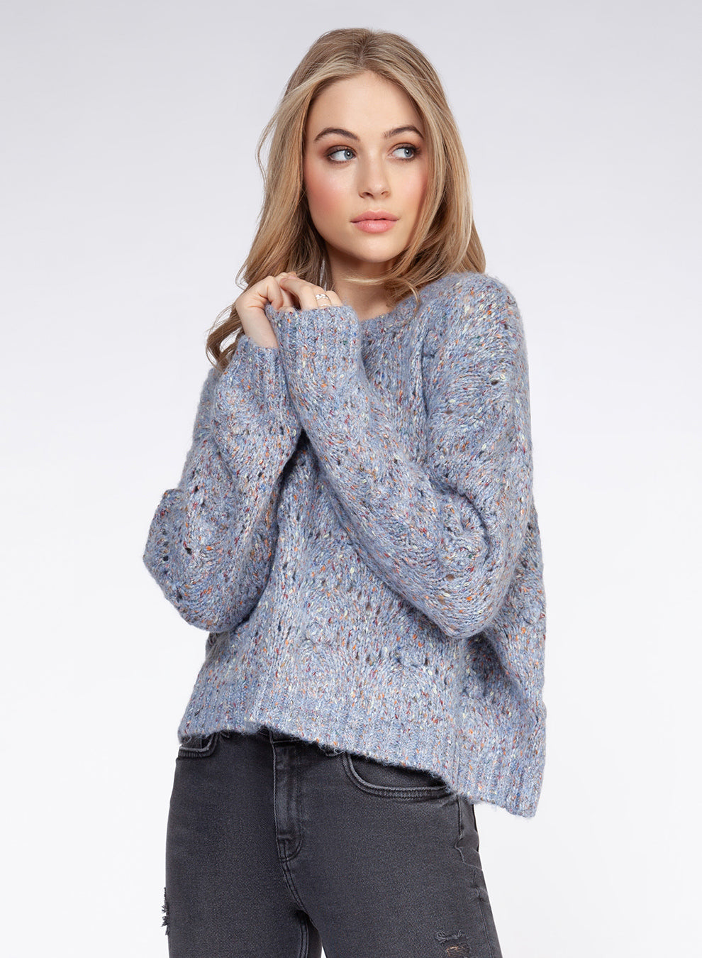 Long Sleave Pompom Sweater Blue