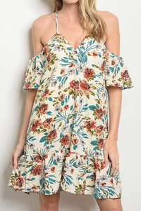 OPEN SHOULDER FLORAL PRINTED RUFFLE DRESS -CREAM