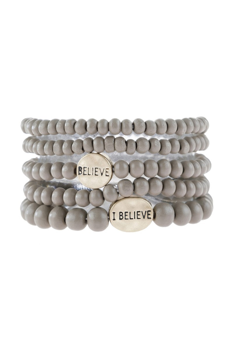 Wood Beaded Bracelet Believe Gray