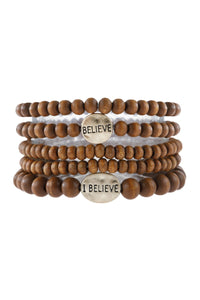 Wood Beaded Bracelet Faith Brown