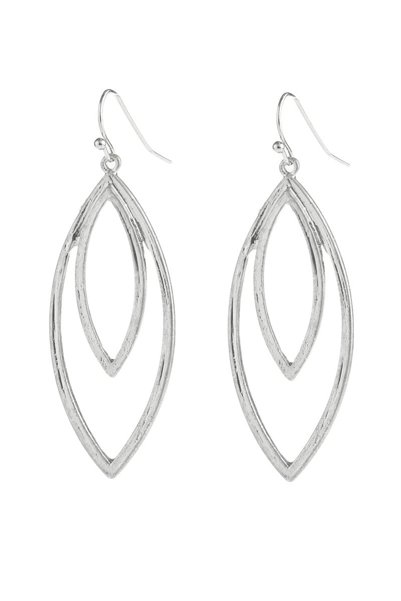 Double Open Marquise Silver dangle Earrings