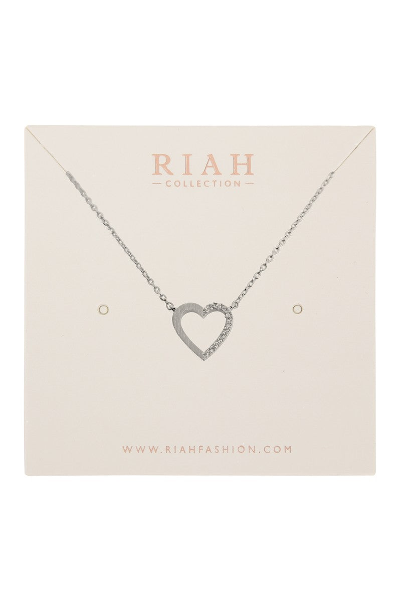 Cast Half Heart Half Crystal Pave Pendant Silver