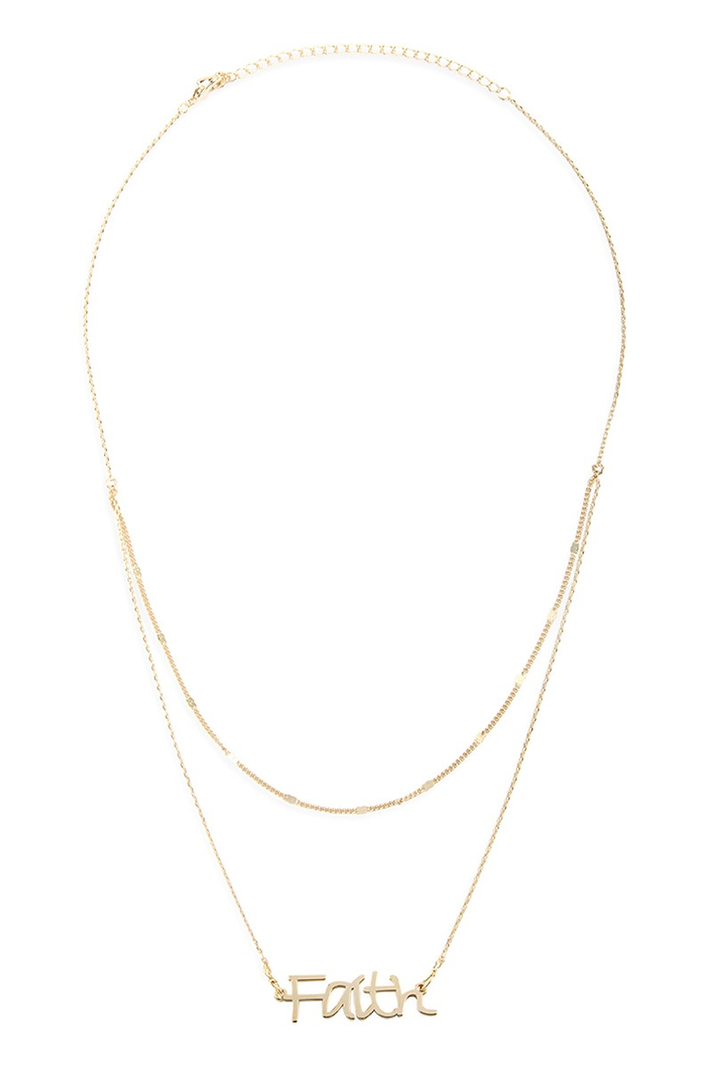 Faith Two Layer Necklace Gold