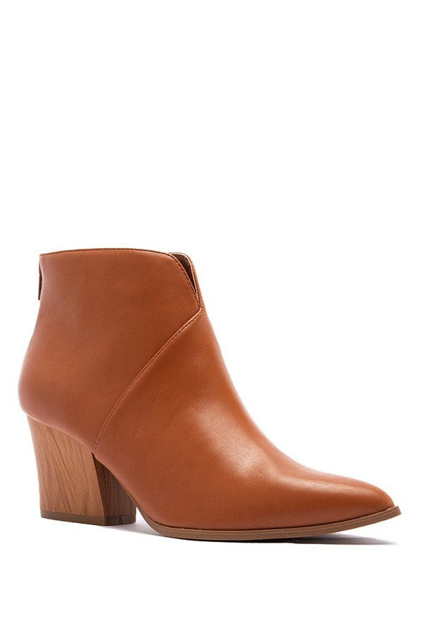 Cognac Ankle Boot with Back Zipper