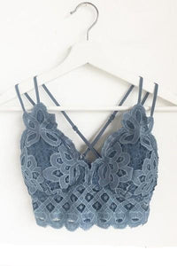 PLUS  Crochet Lace Bralette with Smocked Back Blue Stone