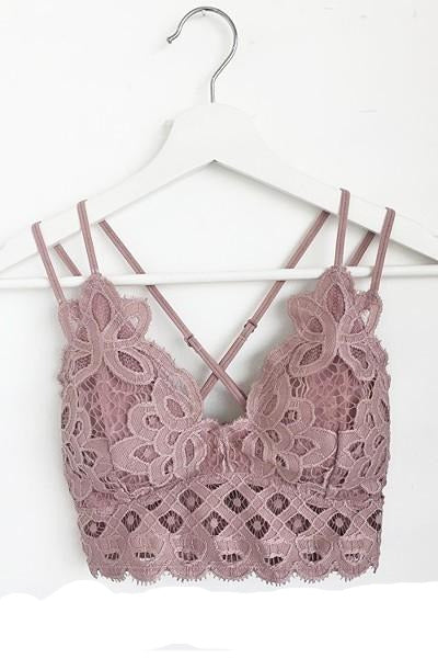 PLUS  Crochet Lace Bralette with Smocked Back Blush