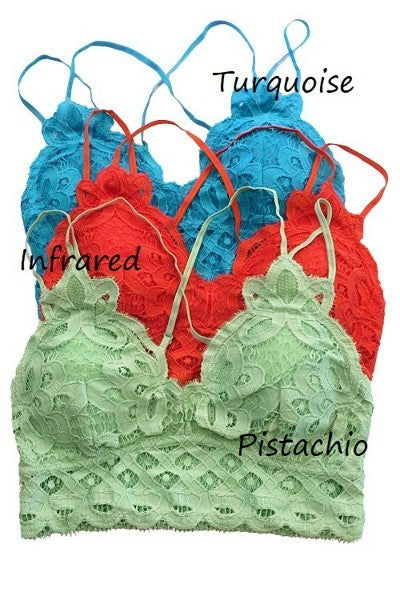Crochet Lace Bralette with Smocked Back Pistachio