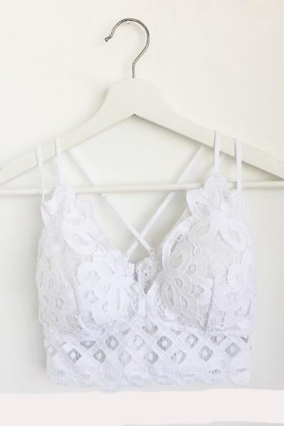 Crochet Lace Bralette with Smocked Back White