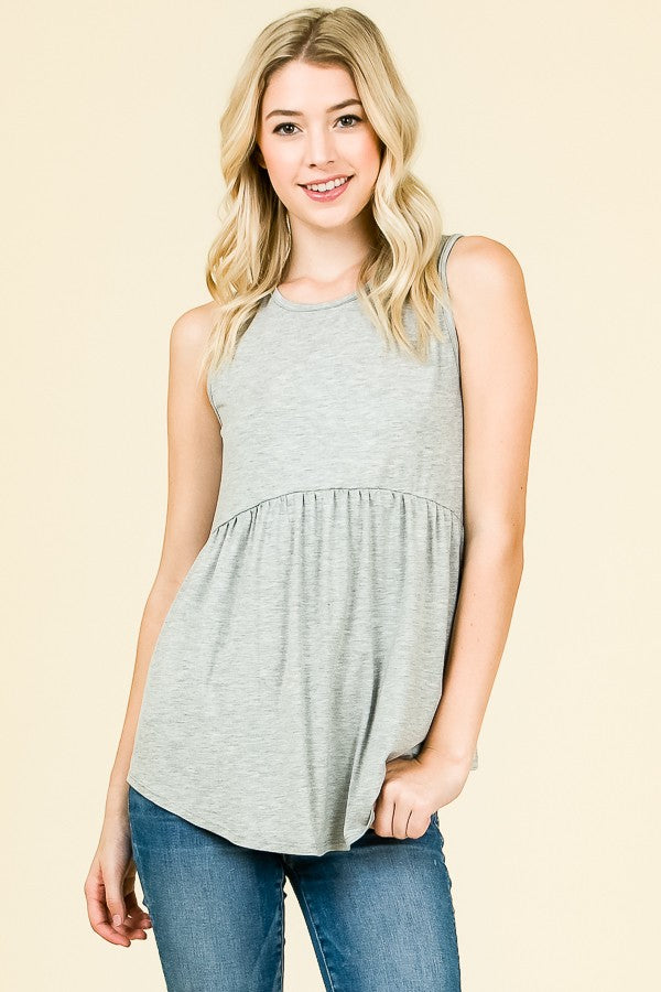 SLEEVELESS BABYDOLL SOLID TUNIC