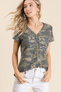 CAMO DECORATIVE BUTTON TOP