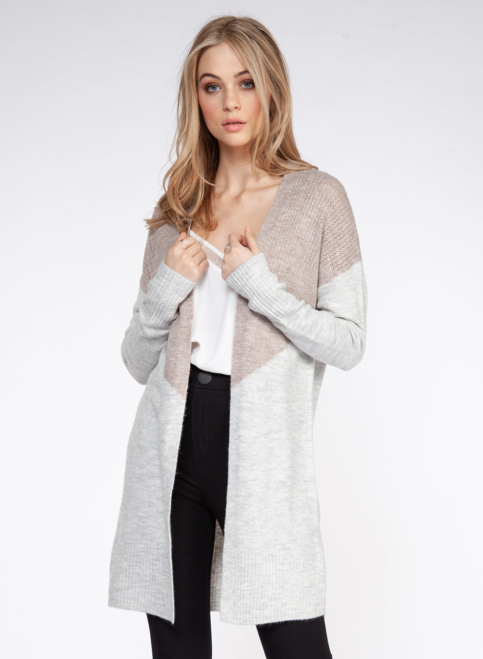 Long Sleeve Color Block Open Cardigan