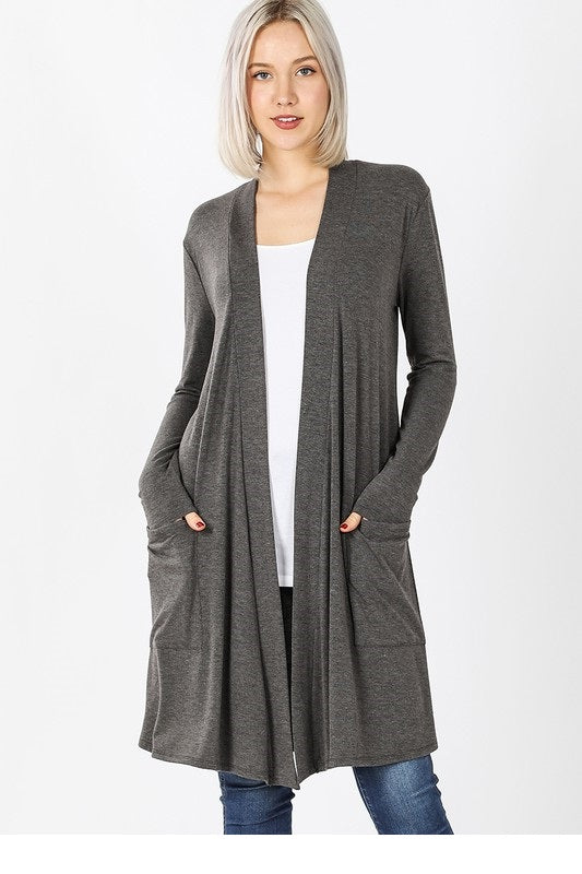 Everyday Long Cardigan Ash Gray