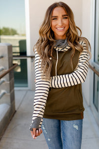 Double Hood Sweatshirt  Olive You Forever Baseball