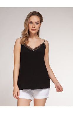 CAMI W/BUTTON AND LACE DETAIL
