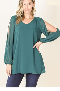 Cold Shoulder Blouse Dark Green