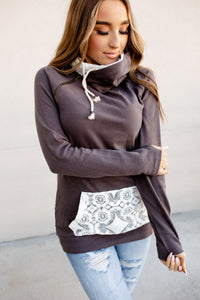 Double Hood Sweatshirt  Lace Accent  Charcoal