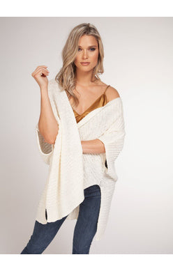 S/SLV OPEN CARDIGAN WITH LOOSE KNIT