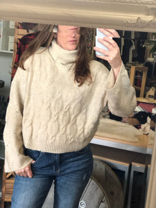 Turtleneck Cream Cableknit Sweater