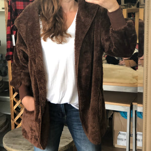 Faux Fur Hooded Jacket with Pockets Dark Olive