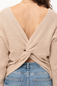 Twisted Tan Sparkle Open Back Detail Sweater