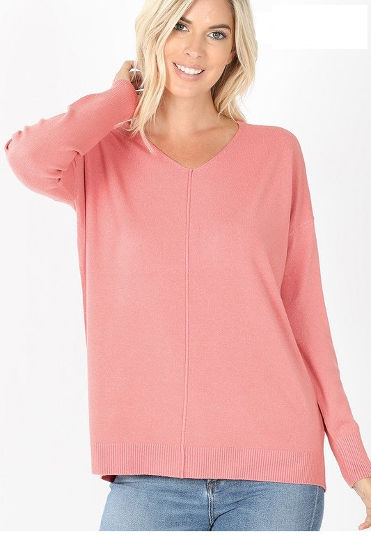 Lori's Classic Hi Lo V-Neck Lt Rose Sweater