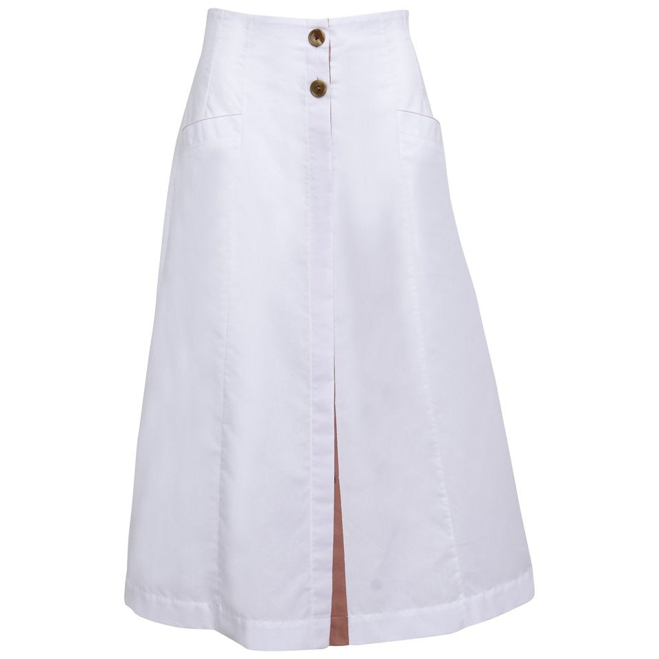 High Waisted Button-Front Midi Skirt