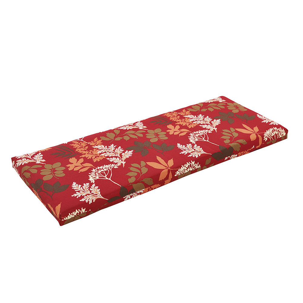 Red Brown Floral Bench Cushion