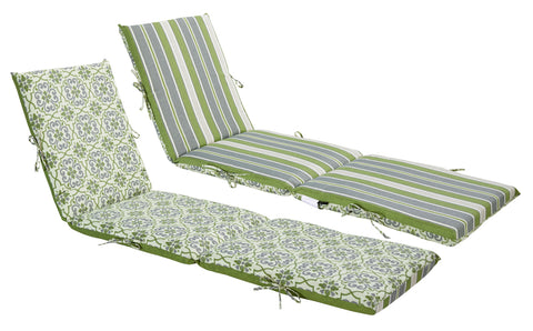 Green/Grey Damask/Striped Chaise Lounge (Reversible)