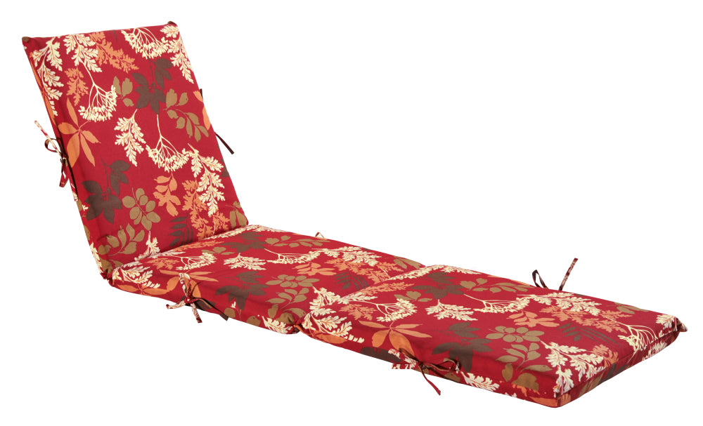 Red/Brown Floral Chaise Lounge