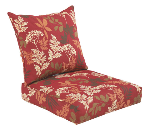 Red/Brown Floral Deep Seat Cushion Set