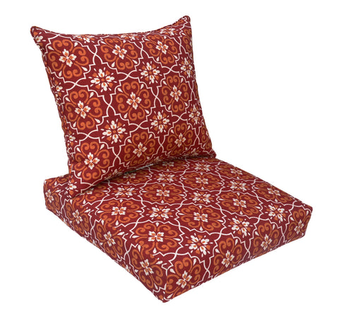 Red Damask Deep Seat Cushion Set