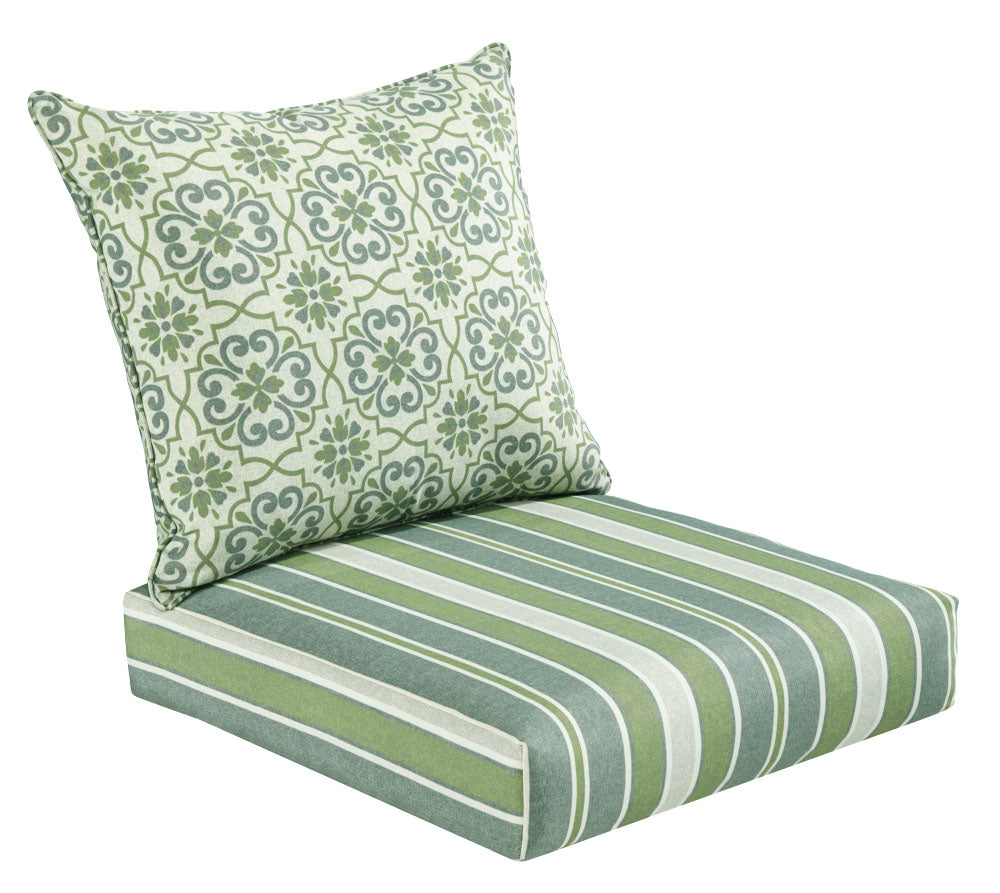 Green/Grey Damask/Striped Deep Seat Cushion Set