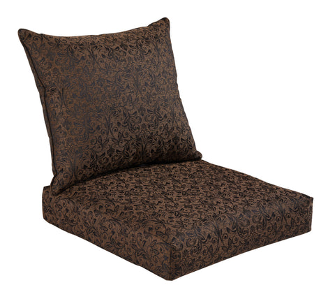 Black/Gold Damask Deep Seat Cushion Set